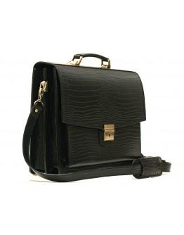 Рифлёный черный кожаный портфель Manufatto 720 черный риф