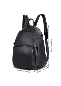 Кожаный удобный городской черный рюкзак 72005