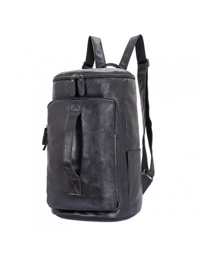Фотография Черный кожаный мужской рюкзак - сумка 72006a