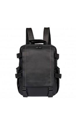Многофункциональный мужской кожаный черный рюкзак 72014A