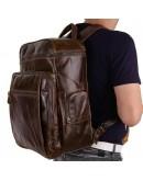 Фотография Вместительный мужской кожаный коричневый рюкзак 7202C