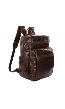 Вместительный мужской кожаный коричневый рюкзак 7202C