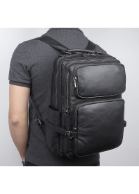 Черный кожаный рюкзак для мужчин 72030А