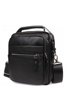 Вместительная чёрная мужская сумка на плечо 7212