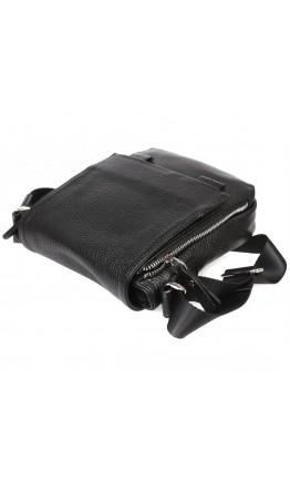 Чёрная кожаная сумка мужская на плечо 7213