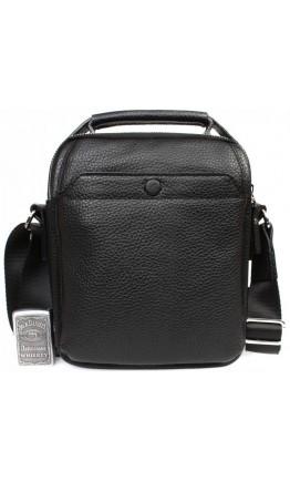 Чёрная кожаная удобная сумка в руку и на плечо 7215