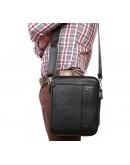 Фотография Удобная вместительная чёрная мужская сумка на плечо 7216