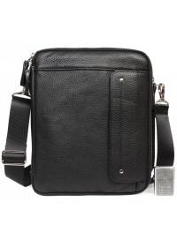 Удобная вместительная чёрная мужская сумка на плечо 7216