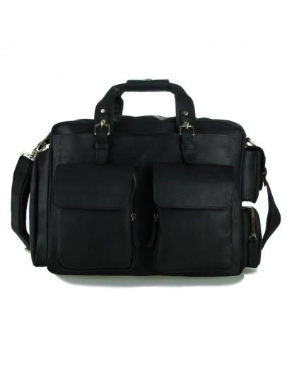 Фотография Большая черная брутальная кожаная мужская сумка 77219A