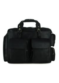 Большая черная брутальная кожаная мужская сумка 77219A