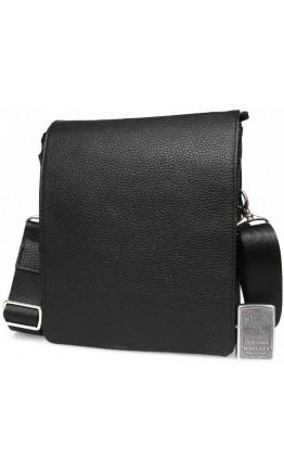 Кожаная чёрная сумка на плечо с клапаном 7219