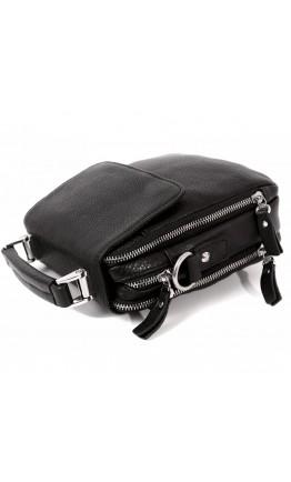 Чёрная кожаная сумка в руку и на плечо 7223