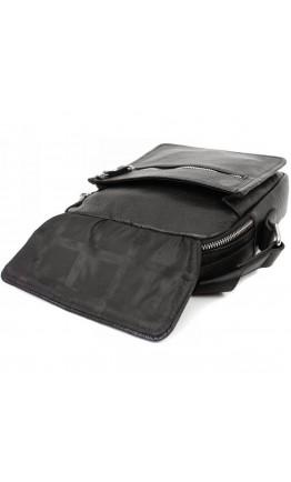 Кожаная сумка чёрного цвета в руку и на плечо 7224