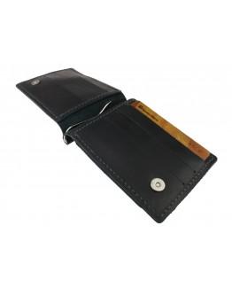 Мужской зажим для купюр черный кожаный 72255P-SKE
