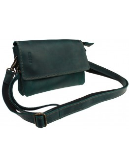 Кожаная женская сумка - клатч зеленого цвета 72332W-SKE