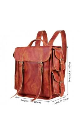 Брутальный винтажный кожаный коричневый рюкзак 77238