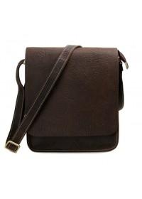Кожаная классическая коричневая сумка на плечо 77239