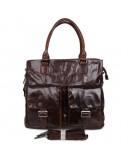 Фотография Большая удобная коричневая мужская кожаная сумка 77242