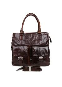 Большая удобная коричневая мужская кожаная сумка 77242