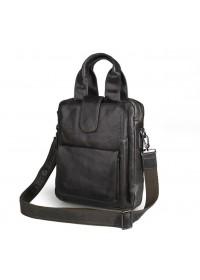 Очень удобная серая мужская кожаная сумка в руку и на плечо 77266I