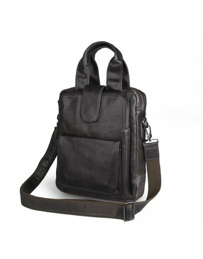 Фотография Очень удобная серая мужская кожаная сумка в руку и на плечо 77266I