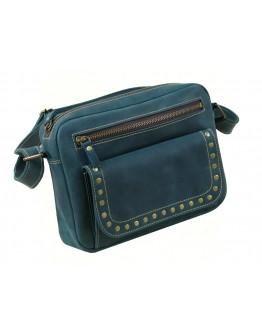 Зеленая женская кожаная сумка на плечо 72709-SGE