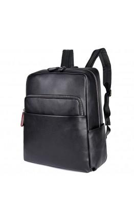 Кожаный черный качественный рюкзак 72753A