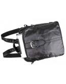 Фотография Компактный рюкзак черного цвета из натуральной говяжьей кожи 77279A