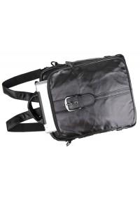 Компактный рюкзак черного цвета из натуральной говяжьей кожи 77279A
