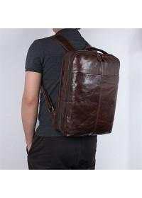 Коричневый городской кожаный мужской рюкзак 77280C