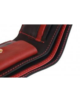 Кожаный мужской кошелек черно-красный 7281P-SKE