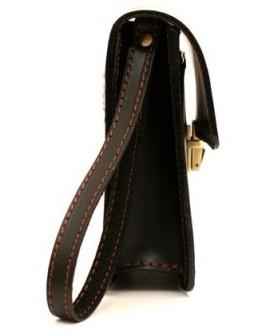 Мужская черная барсетка с коричневой ниткой 73-visitka br-gl