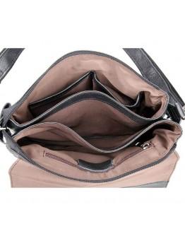 Кожаная черная сумка на плечо для мужчин 7300a