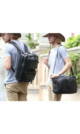 Мужская кожаная черная универсальная сумка 73013
