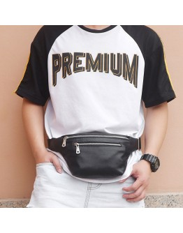 Мужская сумка на пояс кожаная черная 73015A