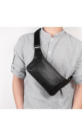 Черная сумка кожаная на пояс - бананка 73016A