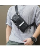 Фотография Мужская сумка на пояс черная оригинальная 73018A