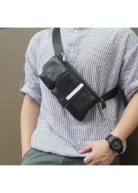 Мужская сумка на пояс черная оригинальная 73018A