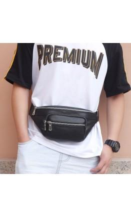 Черная кожаная бананка мужская - сумка на пояс 73020-5A