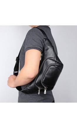 Черная мужская сумка на пояс и на плечо 73023A