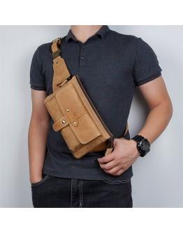 Мужская винтажная поясная коричневая сумка 73025B