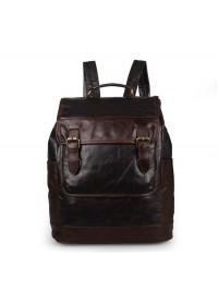 Мужской кожаный коричневый вместительный рюкзак 7305J