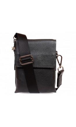 Маленькая черная кожаная сумка на плечо 7309kt