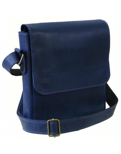 Фотография Синяя кожаная мужская плечевая сумка 73114-SGE