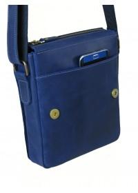 Синяя кожаная мужская плечевая сумка 73114-SGE