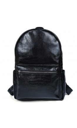 Рюкзак чёрного цвета из натуральной кожи с тиснением 73123