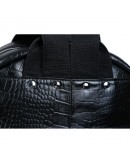 Фотография Рюкзак чёрного цвета из натуральной кожи с тиснением 73123