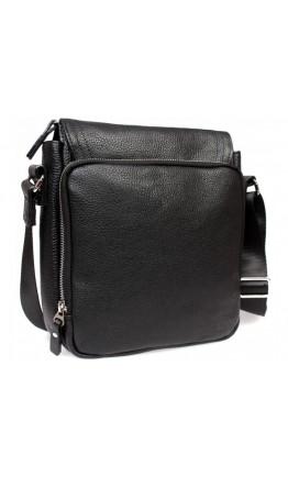 Черная удобная кожаная сумка на плчео 7314kt