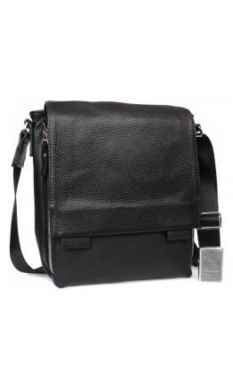 Черная вместительная кожаная сумка на плечо 7315kt