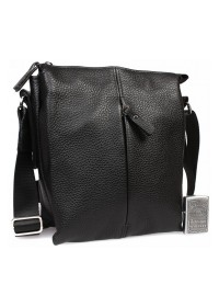 Черная кожаная мужская плечевая сумка 7317kt